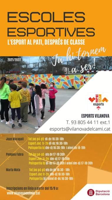 Cartell de les Escoles esportives setembre 2021