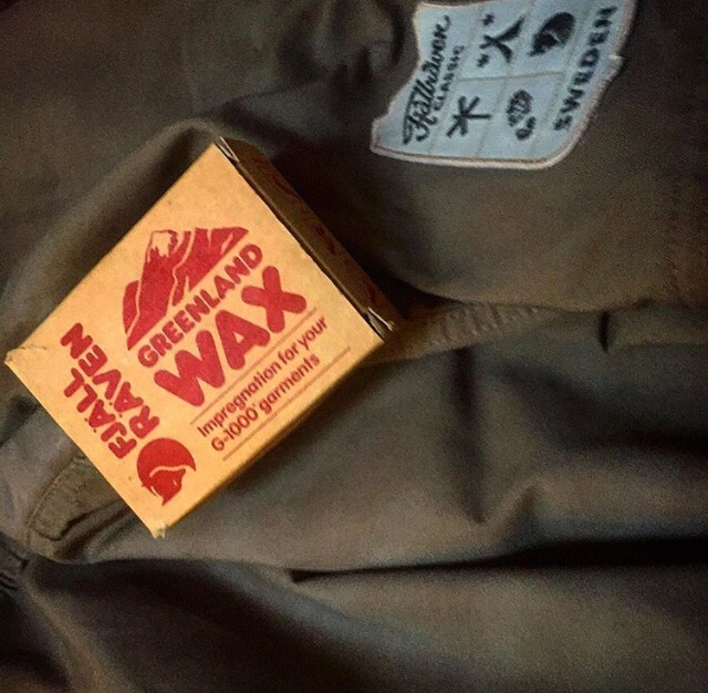 Homemade wax for outdoor clothing.