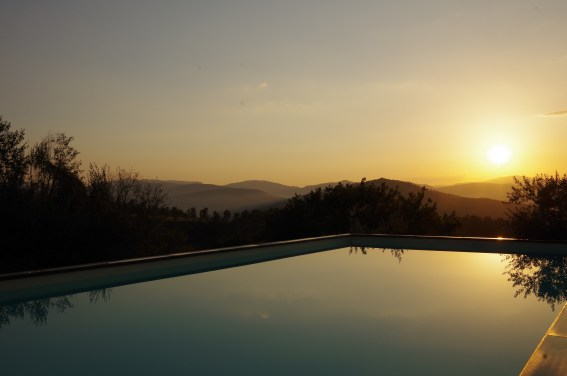 Twilight at pool and villa in Umbria