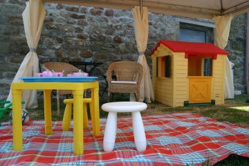 Play area under gazebo