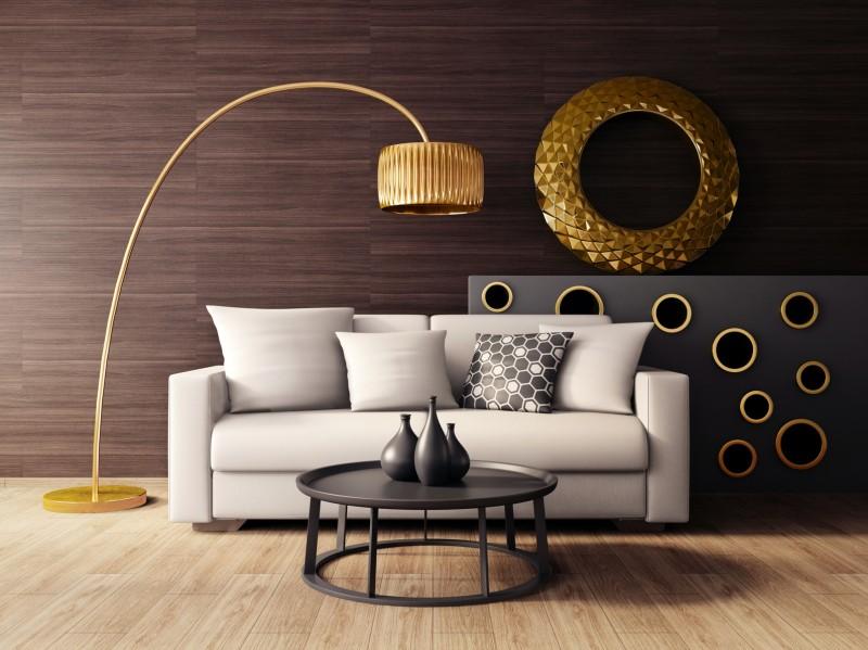 pokój dzienny w stylu glamour