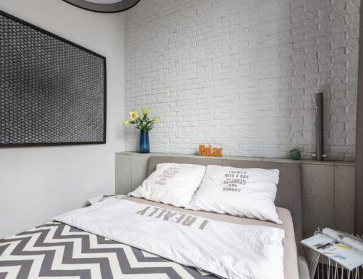 mała sypialnia w stylu nowoczesnym