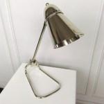 designerska niklowana lampa biurkowa