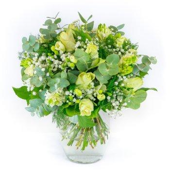 Bouquet avec roses et jacinthes blanches