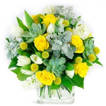 Bouquet de roses jaunes et tulipes blanches