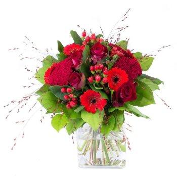 L'Intense, des roses rouges, des germinis rouges, des fleurettes