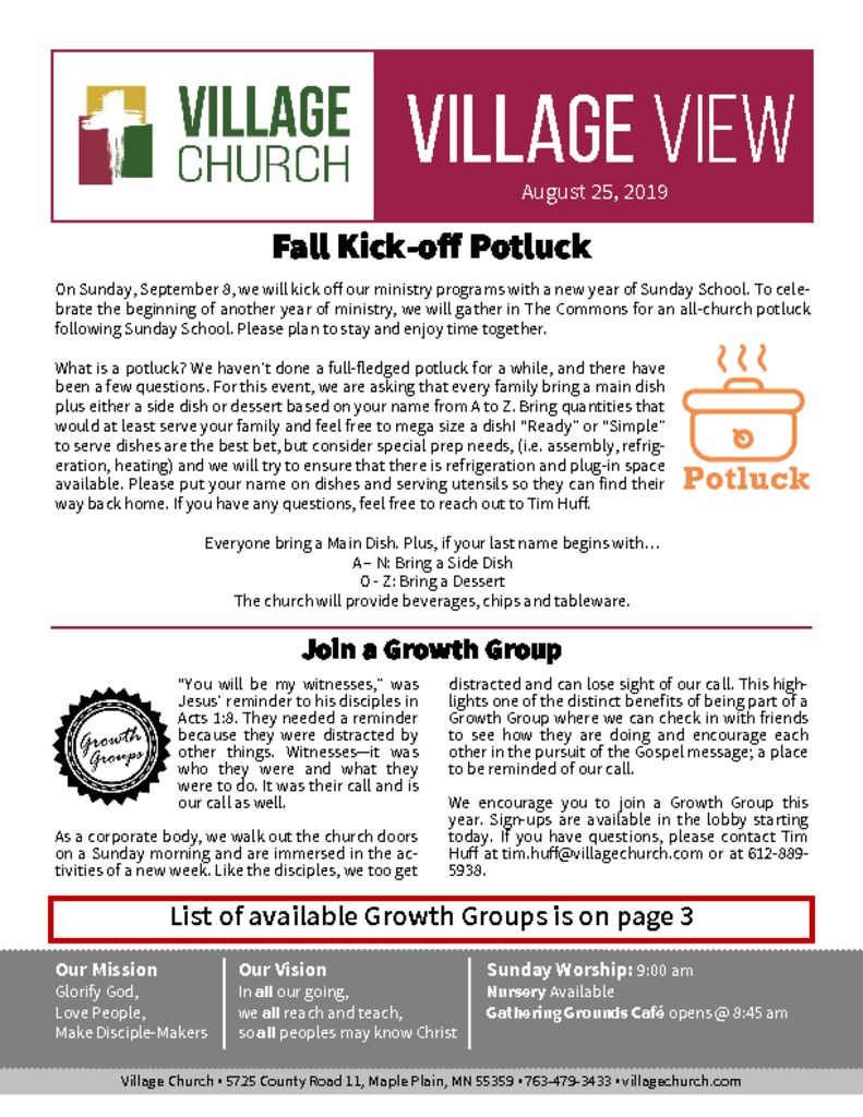 August 25, 2019 – Village Church