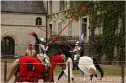 re-enacting the jousting match of King Henry II that led to his death
