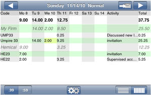 Timesheet view of a partial week