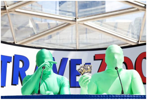 The Vancouver Green Men - Force and Sully are both excited to be going to Boston for games 3 and 4 - courtesy of Travelzoo Canada. Photo Credit: Leigh Righton