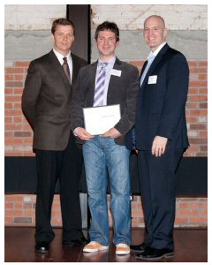 Bob de Wit, Executive Director of the BCIC-New Ventures Competition (l) and Dean Prelazzi, Vice-President Business Development BCIC (r) present Clive Goodinson, Founder and Creator of Pixton Comics with the $30,000 first place award in the 2012 BCIC-Regional New Ventures BC Competition.