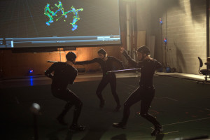 Motion-capture performers (Geoff Scovell, Anita Nittoly, Jennifer Murray) work in front of green screen. Shot on location at Screen Industries Research and Training Centre, Toronto (photo by Christos Kalohoridis for Shaftesbury)