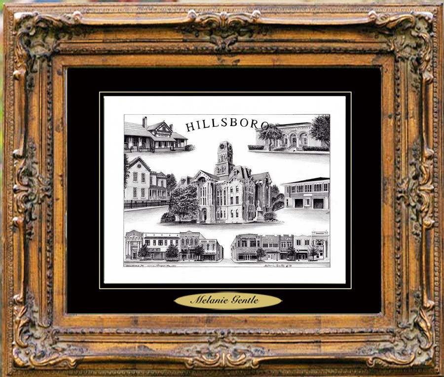 Pencil Drawing of Hillsboro, TX