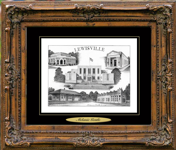 Pencil Drawing of Lewisville, AR