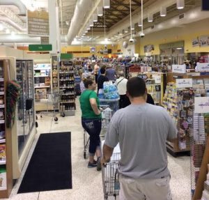 Shoppers on Wednesday morning at Publix in The Villages.