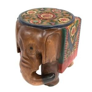 Painted Elephant Side Table - Medium