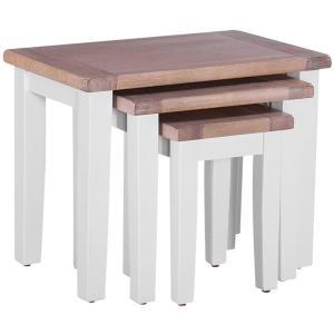 Chalked Oak & Light Grey Nest of 3 Tables
