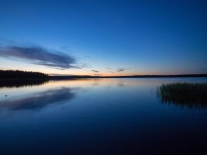 Blue sea at sunset.
