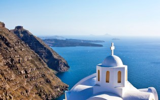 Santorini combines the rocky terrain with the unique view of the volcano and the endless blue