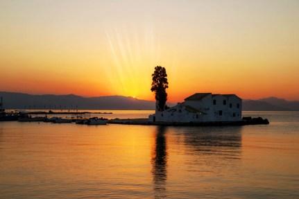 Sunset in Pontikonisi, Corfu