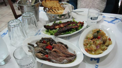 Greek delicacies accompanied with tsipouro