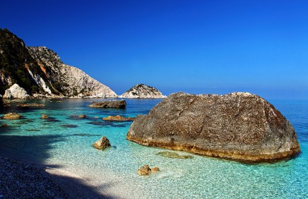 The popular Petani beach, Kefalonia