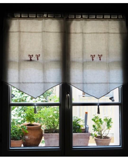 rideaux linge ancien en lin monogramme