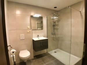 spacious bathroom with sink, toilet and walk-in shower
