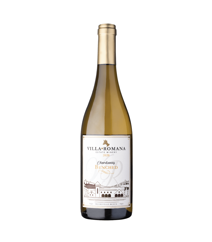 A bottle of 2020 Benched Chardonnay wine from Villa Romana Estate Winery