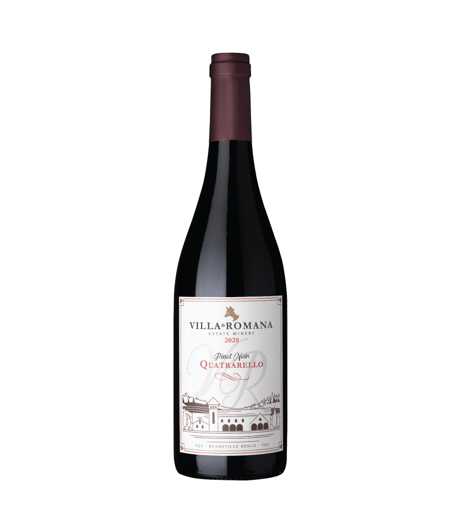 A bottle of 2020 Quatrarello Pinor Noir from Villa Romana Estate Winery.