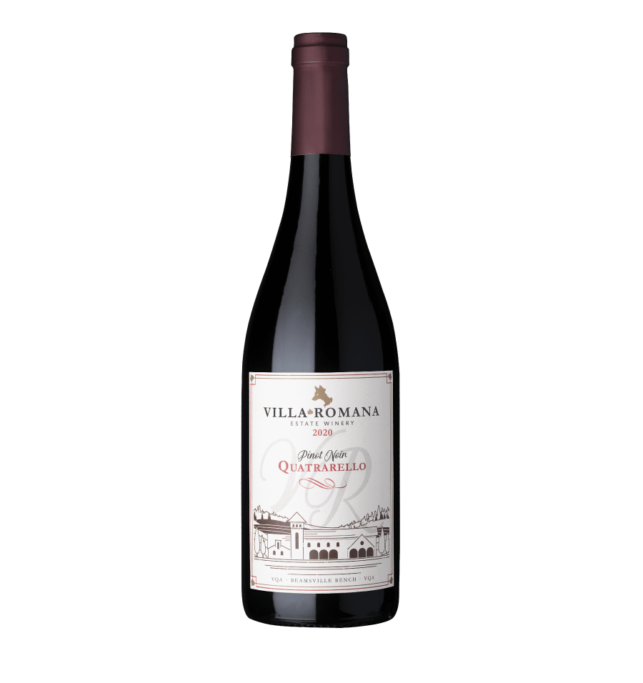 A bottle of 2020 Quatrarello Pinot Noir Red wine from Villa Romanan Estate Winery with a white background.