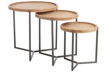 set de 3 tables gigogne bois metal