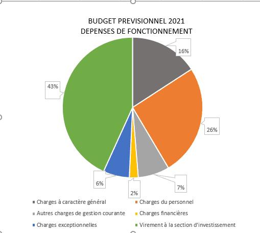 budget prévisionnel 2021 - Dépenses fonctionnement