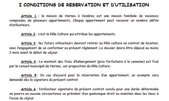 Conditions de réservation