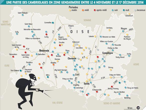 Carte des cambriolages dans l'Oise