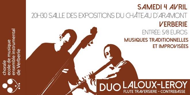 Le duo Laloux-Leroy en concert le samedi 4 avril à 20h30 à Verberie