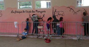 La fresque du préau de l'école des remparts est terminée !