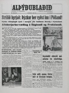 Alþýðublaðið 1 September 1939