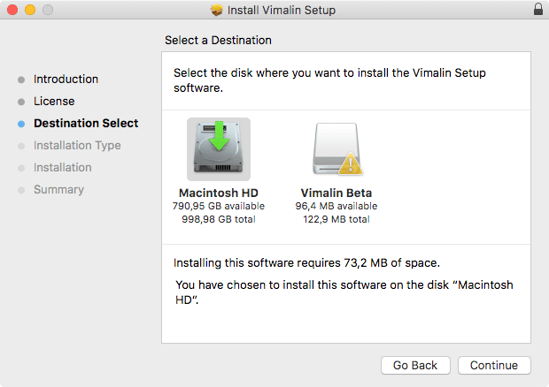 Vimalin install destination select