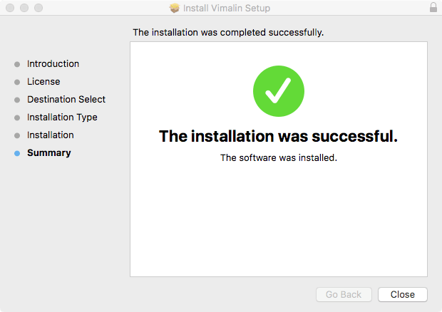 vimalin-install-success