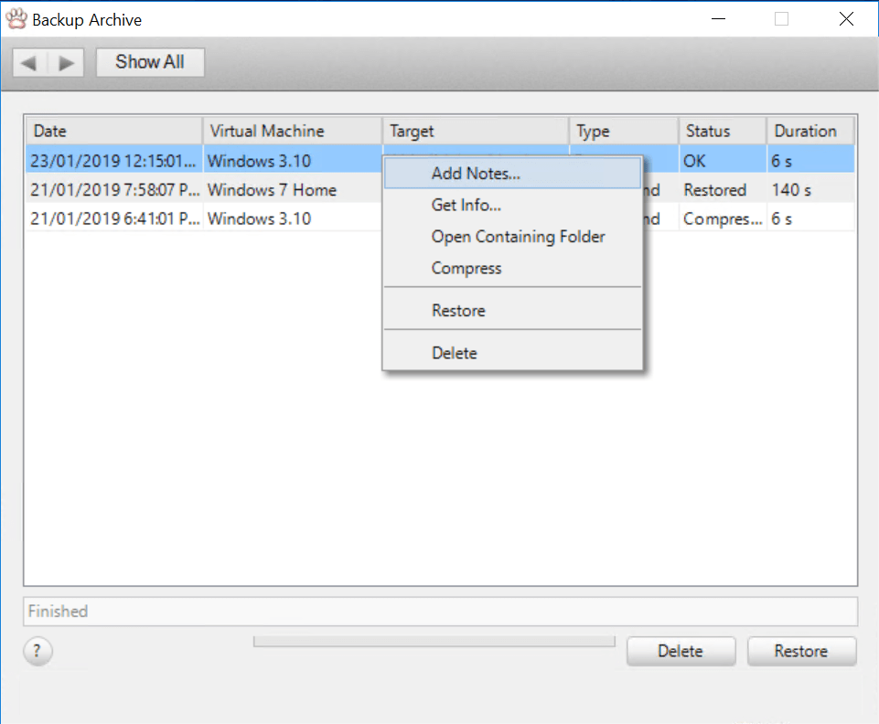 Backup Archive with context menu