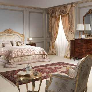 Camea da letto classica di lusso con letto e armadi in legno noce massello anche su misura e su progetto. Camere Da Letto Classiche E Mobili Classici E Di Lusso Per Zona Notte Vimercati Meda