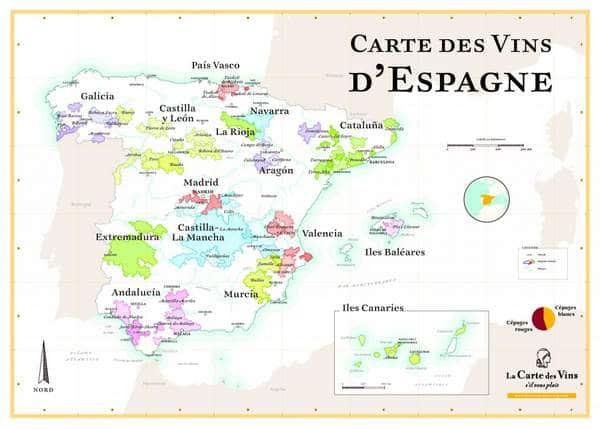 Carte des régions viticoles d'Espagne