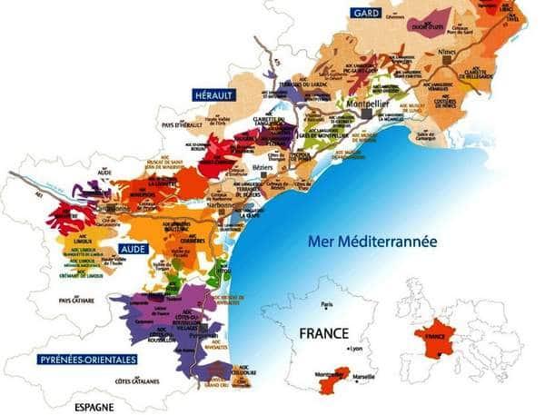 Carte des vins du Languedoc Roussillon