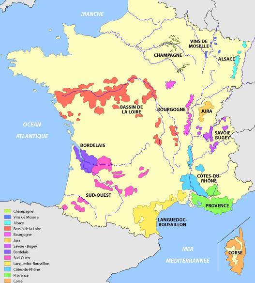 Carte des vins de France : carte région viticole