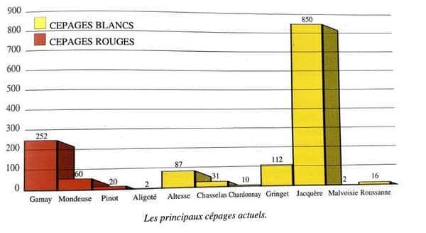 Répartition des cépages des vins de Savoie