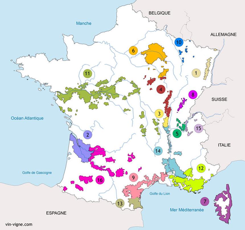 Les régions viticoles