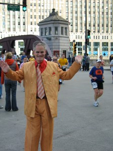 Vincent gives the marathoners a reason to keep running!