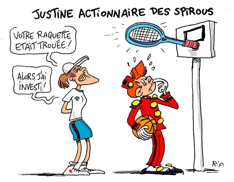 Les Spirous et Justine Hénin