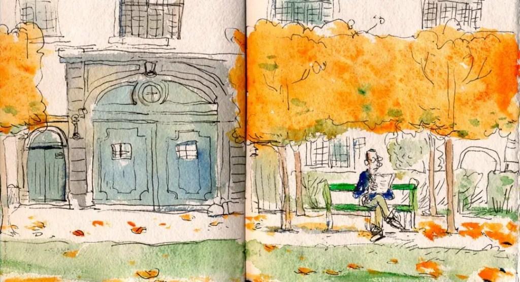 Promenade des abbesses en automne, La Cambre
